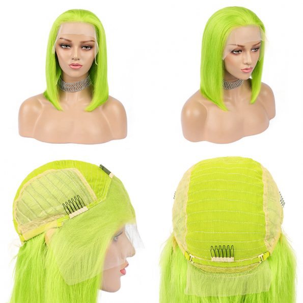 green bob wig human hair (1)