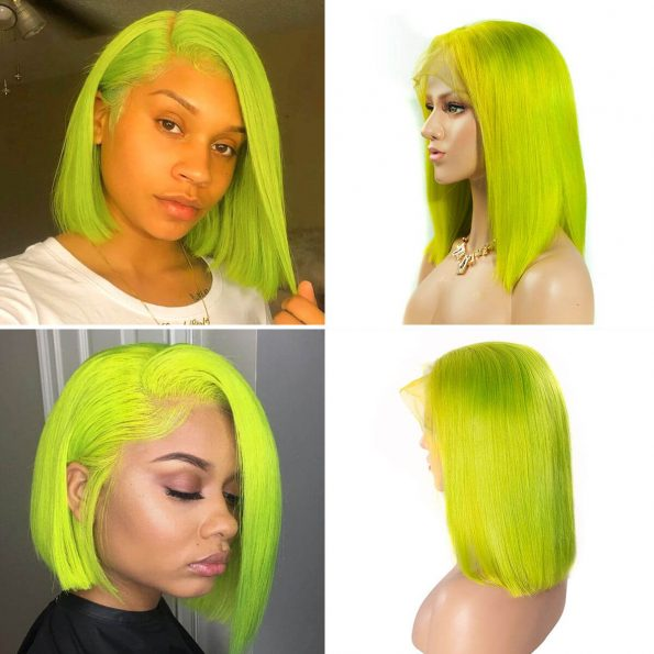 green bob wig human hair (2)