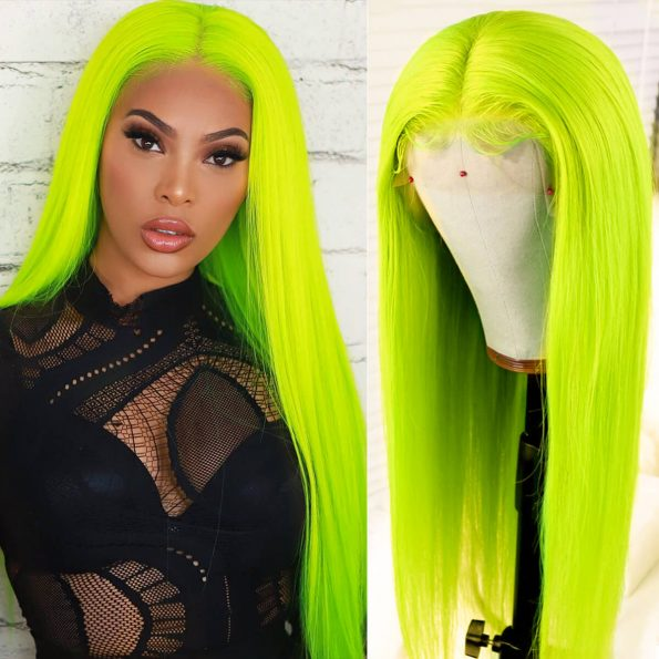 green straight lace front wig (2)