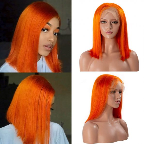 orange bob wig human hair