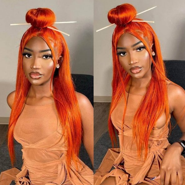 orange straight lace front wig