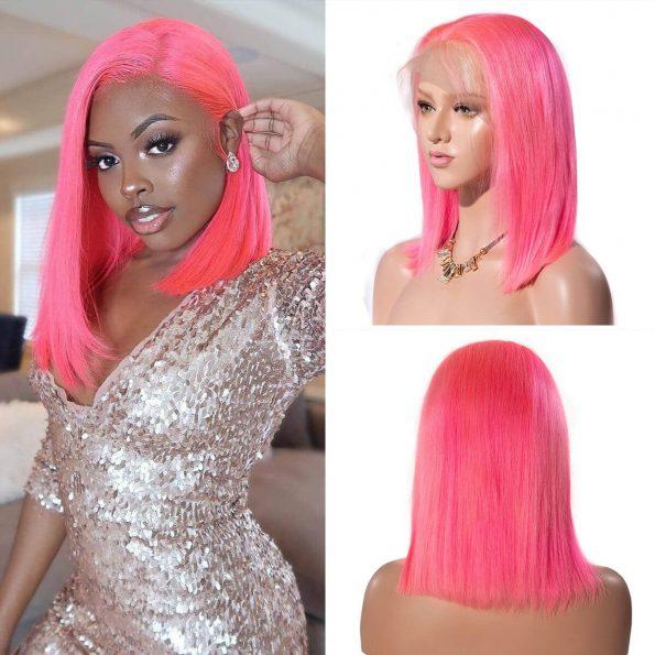 pink bob wig human hair(2)