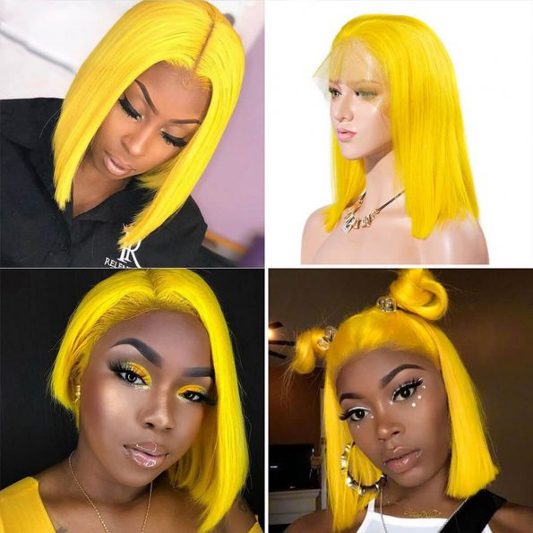 yellow bob wig human hair