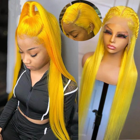 yellow straight lace front wig (3)